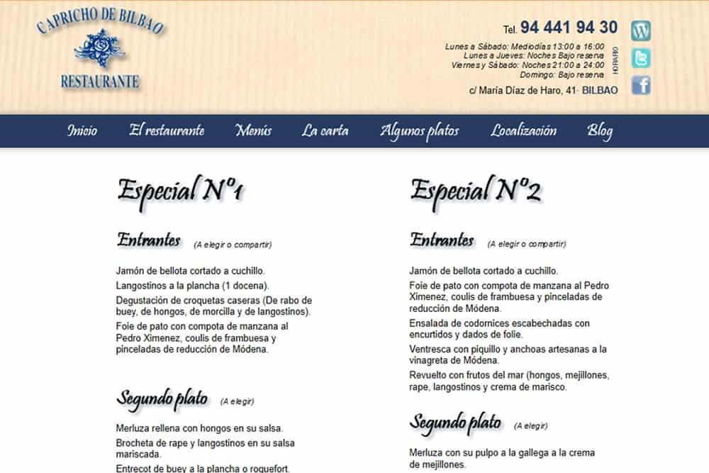 Diseño de páginas web para restaurantes